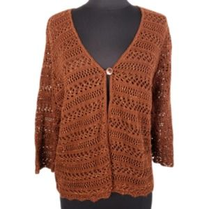 4/$24 Covington Crocheted Brown Cardigan Sweater